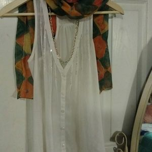 Sheer Top , Scarf, Necklace